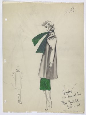Coat Worn with Green Checkerd Skirt and Scarf