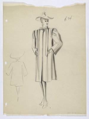 Coat with Wide Shoulders and Single Button at Neck