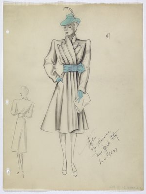 Coat with Blue Hat; Belt; and Gloves