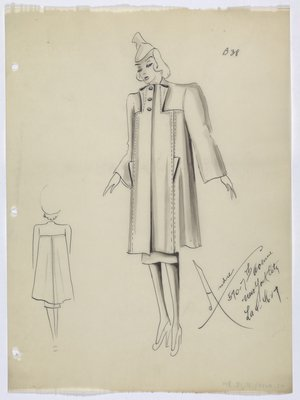 Coat with Triangular Folds and Topstitching