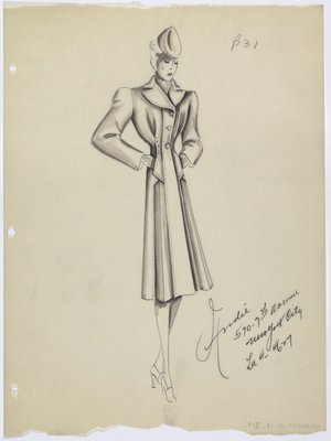 Coat with Cinched Waist and Topstiching