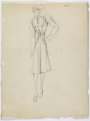 Coat with Mandarin Collar and Cinched Waist