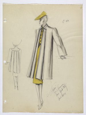 Coat Worn with Yellow Dress and Hat