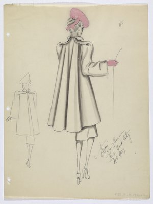 Coat with Back Pleats Worn with Pink Hat and Glove
