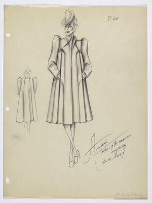 Coat with Pleats and Puffed Sleeves
