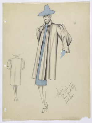 Coat with Light Blue Dress, Hat, and Glove