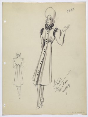 Coat with Fur Trim and Buttons in Groupings of Three
