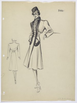 Coat with Fur Trim and Cinched Waist