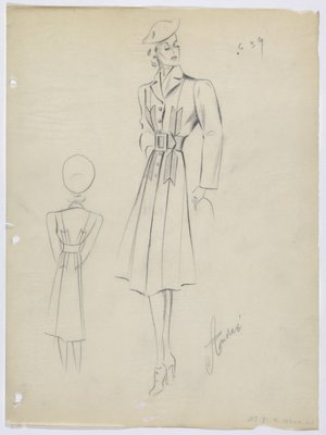 Coat with Arrow Tail Shapes at Waist