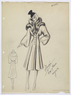 Coat with Large Fur Collar and Large Round Buttons