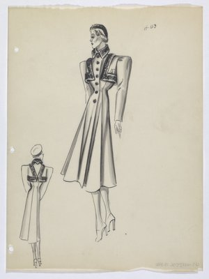 Coat with Dark Trim on Collar and Top