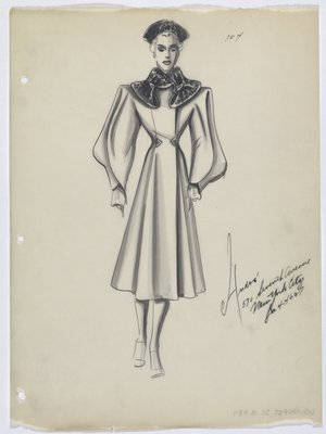 Coat with Dark Collar and Triangle Buttons at Waist