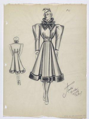 Coat with Bow-Like Dark Collar and Dark Trim at Hem