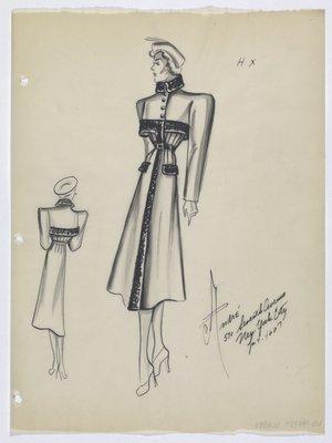 Coat with Built-In Bolero and Dark Flap Pockets
