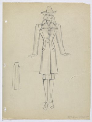 Coat with Double Pointed Lapels and Curved Pockets