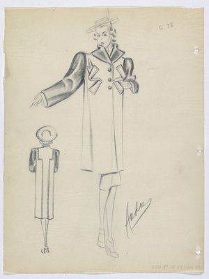 Coat with Dark Sleeves and Z-Shaped Pockets at Top