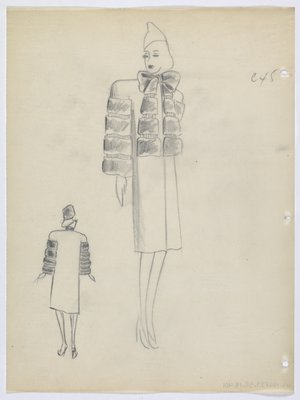 Coat with Bow Around Neck and Fur down Front and Sleeves
