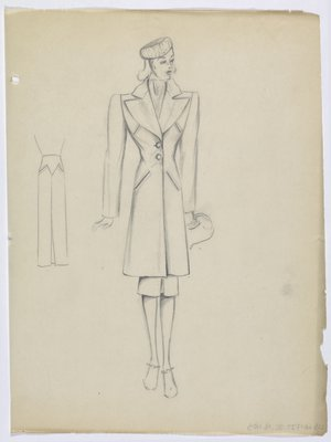 Coat with Large Lapels and Double Welt Pockets on Top and Hip