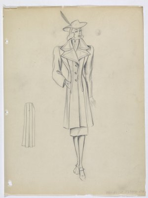 Coat with Layered Pointed Lapels and Seam Pockets