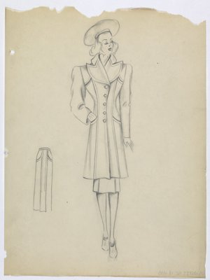 Coat with Wide Lapel and Pockets at Top and Hip