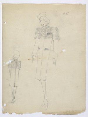Coat with Built-In Bolero in Dark Fabric