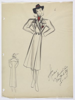 Coat with Heart-Shaped Buttons; Worn with Red Scarf and Black Hat with Red Trim