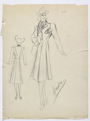 Coat with Triangle Cuts Trimmed in Dark Fabric at Top; with Dark Collar