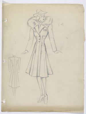 Coat with Fur Collar and Lines Forming Cross down Front