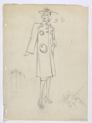 Coat with Round Buttons and Circular-Shaped Pockets