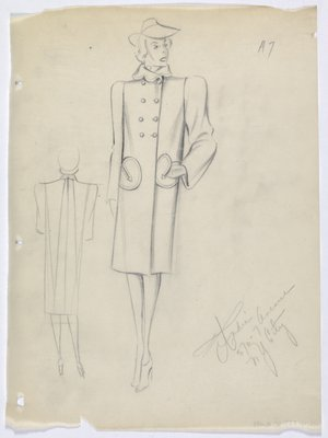 Coat with Circular Pockets with Arrow Detail