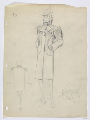 Coat with Stand-Up Collar and Angular Lines on Shoulder and Front