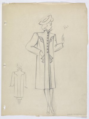 Coat with Stand-Up Collar and Angular Embellishment along Front
