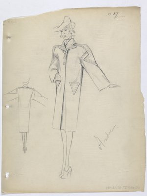 Coat with Decorative Lines on Sleeve and Triangle Pockets