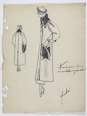 Coat with Dark Trim on Collar and Pocket