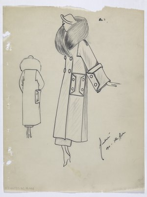 Coat with Large Square Pockets with Buttons on Pocket and Sleeve