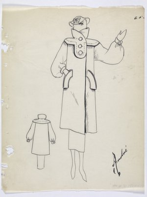 Coat with Stand-Up Collar and Large Curved Pockets