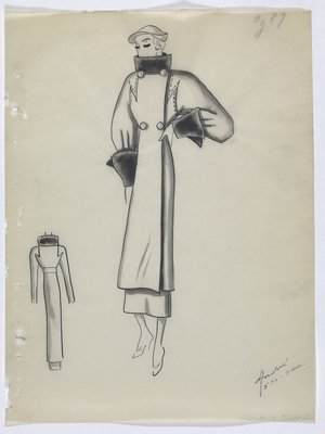 Coat with Fur Collar and Sleeve Cuffs