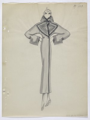 Coat with Line Detail along Collar, Lapels and Sleeve Cuffs