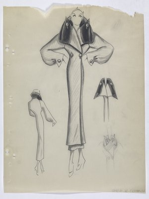 Coat with Folded, Buttoned Collar