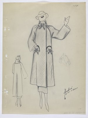 Coat with Bow at Collar and on Pockets