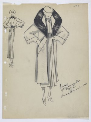 Coat with Fur Collar and Slit Pockets, Worn over Dress