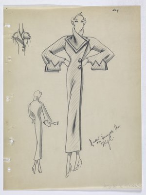 Coat with Folds on Sleeve and Diamond-Shaped Buttons