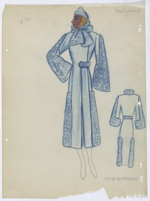 Molyneux Blue Coat with Fur Collar and Sleeves