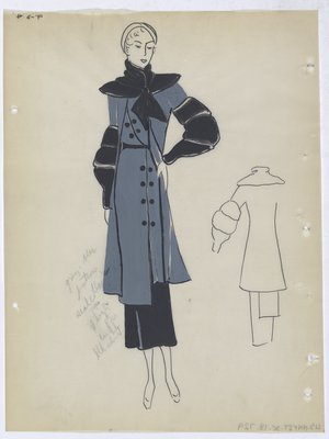 Grey-Blue Coat with Black Collar and Sleeve, Worn with Black Skirt