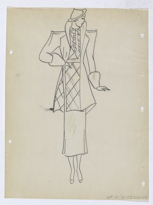 Coat and Suit with Pointed Shoulders and Ruffle at Top