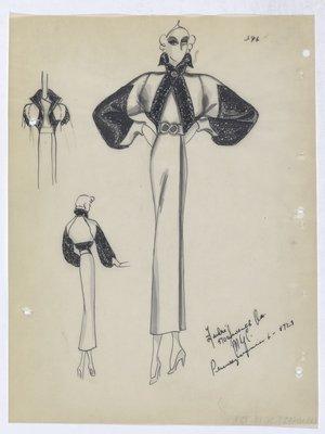 Coat with Built-In Bolero Trimmed in Fur