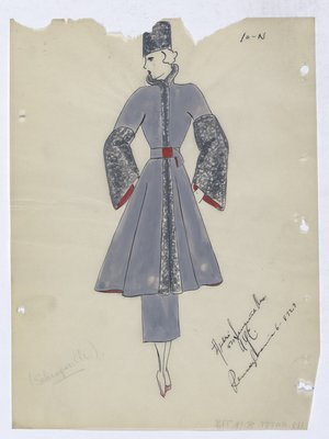 Schiaparelli Grey-Blue Coat with Silver Trim down Front and Sleeve