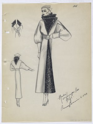 Coat with Double Pointed, Dark Trim Collar and Dark Trim down Front