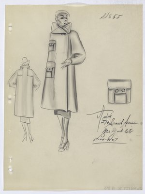 Coat with Flap Pockets with Two Buttons on Flaps