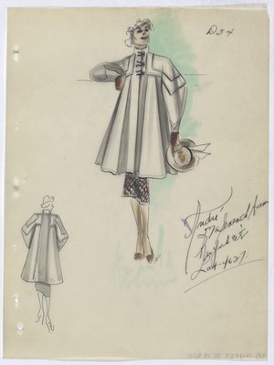 Coat with Brown Toggle Closure at Neck, with Brown Hat, Skirt and Gloves